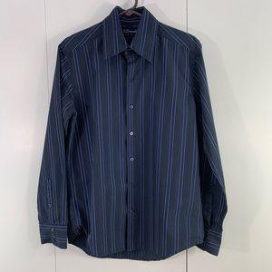 7 Diamond M stripes collared dress shirt blue blac